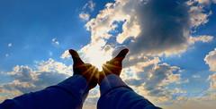 IMG_3596 (frankiejeanie) Tags: blue sky sun clouds hand beam rays sunrays sunbeams touchthesky holdingthesun