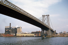 Williamsburg Bridge, New York, 1962 (robmcrorie) Tags: new york bridge usa colour film dock factory slide williamsburg kodachrome domino 1962 sugars