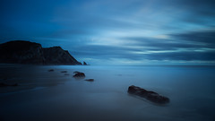 Serene (Joo Cruz Santos) Tags: longexposure blue seascape beach portugal bluehour a7 adraga 10stops sel1018