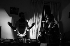 It's my birthday so I'm having a house party (Gary Kinsman) Tags: party bw london night houseparty dark blackwhite dance dj availablelight ambientlight candid late unposed kentishtown highiso 2016 nw5 fujifilmx100t fujix100t