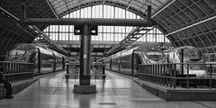 So long, farewell .... (londonlass16) Tags: urban blackandwhite london monochrome architecture train eurostar capital border transport stpancras