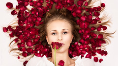 The Rose (Tommy Hyland) Tags: red portrait woman white plant beautiful beauty face rose female person one model feminine vibrant indoor human colourful