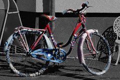 bicycle (frode.vermedal) Tags: street color colors bike bicycle out cool knitting outdoor knit