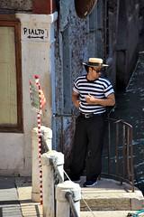 Venice: Taking a break (Peter Denton) Tags: street city venice italy man male guy europa europe italia candid eu venise venezia venedig rialto gondolier boater nikond5300 peterdenton