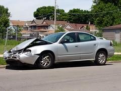 Another Pontiac Down #1 (artistmac) Tags: street chicago car sedan silver outdoors illinois automobile gm crash accident il pontiac wrecked frontend generalmotors grandam