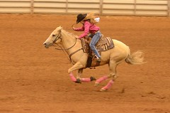 One Foot From Flying (Get The Flick) Tags: horse running rodeo cowgirl barrelracing toughenoughtowearpink georgiahighschoolrodeoassociation perrygageorgianationalfairgroundsagricenter