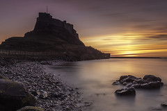 Custodian of the Dawn (Pureo) Tags: longexposure castle canon dawn rocks northumberland le northsea lee northeast holyisland lindisfarne leefilters canon6d