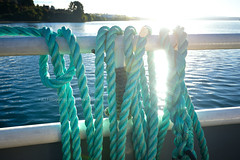 Cruzando a Isla Lemuy - Archipielago de Chiloe (Noelegroj (More than 6 Million views.Thank you all) Tags: chile travel patagonia sunlight verde water backlight contraluz landscape turquoise lakedistrict paisaje rope railing chiloe soga baranda tuquesa ferrycrossing islalemuy luzsol