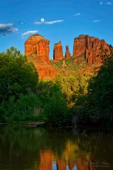 Cathedral Rock  Sunset II (John C. House) Tags: arizona mountains reflections nikon sedona fullmoon redrocks nik cathedralrock everydaymiracles d700 johnchouse aurorahdr
