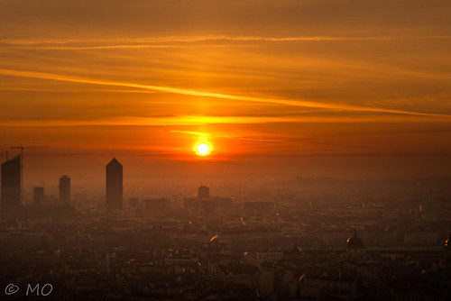 Sunrise over Lyon skyline