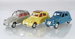 Dinky France 2CVs (adrianz toyz) Tags: diecast toy model car citroen 2cv dinky toys france french atlas editions spain