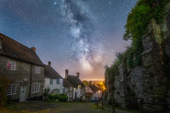 Gold Hill and the Cosmos (DorsetScouser) Tags: street old longexposure england english night stars star britain traditional cottage astro galaxy astrophotography dorset thatch astronomy british shaftesbury darksky stargazing milkyway goldhill aonb darkskies blackmorevale northdorset stephenbanks dorsetscouser hooveshill