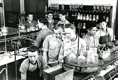 A group at work in the lab, 1940s-1950s (PUC Special Collections) Tags: laboratory lab pacificunioncollege chemistrydepartment chemistrylab chemistry beakers test tubes scientist labcoat experiments angwin california adventist sda seventhdayadventist college