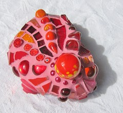 Fire-Red Mosaic Stone (Waschbear - Frances Green) Tags: red fire stones mosaic friendly paperweight colourfull mosaicstones
