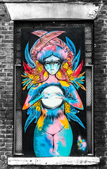 feathered fortune teller in the window contrasts (PDKImages) Tags: urban streetart art mill abandoned beauty lady contrast manchester graffiti eyes colours anger lips fortune hidden angry drama fortuneteller unexpected teller liom