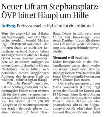 Neuer Lift am Stephansplatz: VP bittet Hupl um Hilfe (bizeps) Tags: stephansplatz wienerlinien ubahn 2016 medien erwhnung erwhnungen bericht presse pressemeldung pressemeldungen