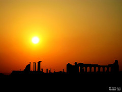 Sunset in Volubilis (Morocco) (My Wave Pictures) Tags: africa city travel sunset orange history yellow stone architecture construction ancient ruins sundown roman outdoor arc nobody tourist morocco ruined volubilis meknes