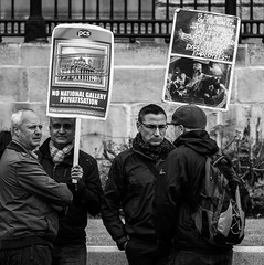 PCS Protest - The North Terrace Trafalgar Square (BW) (Olympus OMD EM5 & Panasonic G 35-100mm F2.8) (markdbaynham) Tags: street camera city uk urban london westminster four lumix g capital evil olympus system panasonic telephoto micro gb metropolis f28 compact omd csc oly londonist m43 mft em5 mirrorless u43 3510mm m43rd u43rd thitf