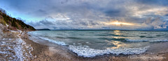 Lake Michigan ... Earth Day '15, sunset II (Ken Scott) Tags: sunset panorama usa snow beach leland spring michigan wave lakemichigan greatlakes northbeach april hdr breaker freshwater northmanitouisland leelanau 2015 cloudbank 45thparallel kenscottphotography kenscottphotographycom