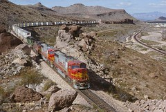 .(SEE & HEAR), ATSF 234 eb, mp518 Kingman Canyon, AZ 4-15-1998 (jackdk) Tags: railroad santafe train railway canyon locomotive kingman emd atsf stacktrain trailertrain kingmancanyon sd75m emdsd75m
