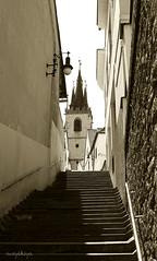 Street in small czech town (Dasha May) Tags: blackandwhite church stair czechrepublic