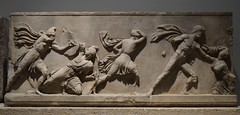 Marble slab of the Amazon frieze of the Mausoleum of Halikarnassos representing combats between Greeks and Amazons, Mausoleum at Halikarnassos, around 350 BC, British Museum