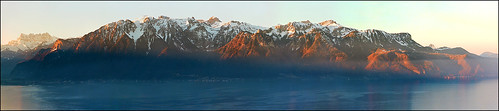 Early morning, view on Alps from Montreux