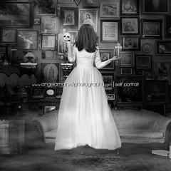 Death or Life (amarvel) Tags: life blackandwhite woman selfportrait monochrome death skull dress cross religion jesus creative surreal gown choices float levitate monochorome jesuswall