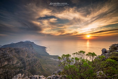 Table Mountain (Chiara Salvadori) Tags: ocean africa travel winter light sunset sea sun mountains nature colors landscape southafrica spring scenery rocks view sundown outdoor capetown panoramic atlantic unesco cablecar traveling tablemountain capepeninsula sudafrica