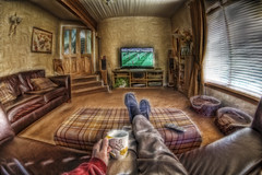 Watching Football (D-W-J-S) Tags: daydream relax settee football television tv fractalius hdr cup tea remote control