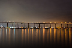 Section of Coronado Bridge, San Diego (Boxa8) Tags: longexposure bridge reflection night boat waterfront sandiego coronado coronadobridge nightskyline lightsatdusk boatonlake