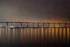 Section of Coronado Bridge, San Diego (Boxa8) Tags: longexposure bridge reflection night boat waterfront sandiego coronado coronadobridge nightskyline lightsatdusk boatonlake