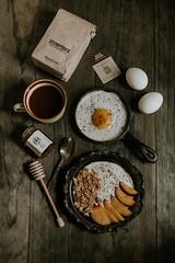 Morning Eggs (jakfruit) Tags: morning coffee fruit breakfast dark 50mm healthy moody top down clean eat honey eggs minimalism yogurt overhead stumptown lxc dripper