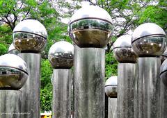 The Pol Bury Fountain in Brussels (jackfre2) Tags: trees brussels water fountain belgium belgian spheres sculptor polbury boulevardalbertii