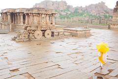 Stone Chariot , Vittala Temple, Hampi (Suresh Eswaran) Tags: rain yellow stone temple chariot hampi vittala
