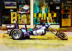 Drink and Ride (Steve Taylor (Photography)) Tags: new newzealand art metal shop digital painting spring chopper tricycle stock nelson motorbike nz motorcycle southisland trike colourful custom lowrider