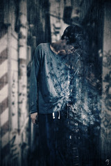 breakdown (MJphotograhpy) Tags: blue portrait composite photoshop person spread surrealism surreal manipulation disperse particle breakdown particles dispersal spreading mattepainting
