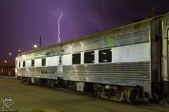 NYC Swift Stream Gets Its Lightning Scheme...(sorta) (Russell_Honey) Tags: newyorkcentral swiftstream passengercar unionstationkansascity lightning weather storm railfan railroadphotography nightphotography
