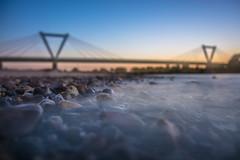 hazy Stones (Moritz Padberg) Tags: a44 bridge brcke bigstopper leefilter leefilters dsseldorf duesseldorf rhein sunset