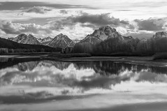 Tetons in B&W.IMGP7663 (candysantacruz) Tags: g grandtetonnationalpark wyoming spring oxbowbend bw mountains clouds