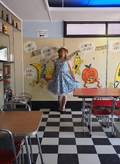 At The Milk Bar (justplainrachel) Tags: justplainrachel cd tv crossdresser retro vintage hat floral blue frock tgirl petticoat milkbar bells brokenhill nsw australia flounce tiles chrome 50s fifties brokenheel festival priscilla
