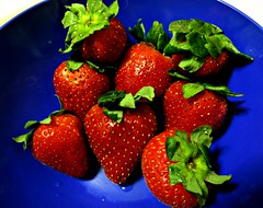 Fresh Strawberries (~nevikk~) Tags: strawberries freshfruit red green blue kevinkelly breakfast