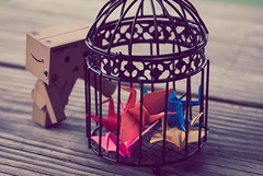 The Rescuer (Lady Riven) Tags: origami cage papercrane papercranes danbo  origamicrane   danboard