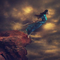 let loose the curious being (brookeshaden) Tags: cliff fairytale jump surrealism fineart rope adventure fantasy future conceptual inspire whimsical stormclouds fineartphotography motivational windymountain brookeshaden jumpingoffcliff