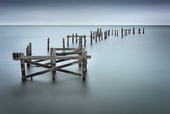 pickup stx (JGP76) Tags: uk longexposure sea seagulls water landscape pier seaside sticks dorset bluehour vignette swanage bleached streakyclouds 16stopnd