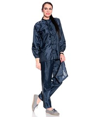 Shiny Blue Nylon Pyjamas (rainwearfetish) Tags: blue rain shiny raincoat nylon pyjamas waterproof rainjacket regenjacke glanz regenjas regenpak