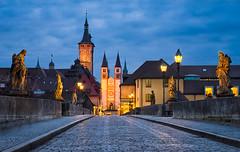 Blue Hour in Wrzburg (Michael Abid) Tags: old city bridge blue sky tower history church skyline architecture night germany bayern bavaria cathedral main landmark historic altstadt oldtown wurzburg wrzburg wuerzburg mainbrcke