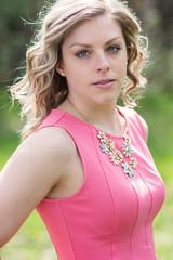 Sarah (bonavistask8er) Tags: pink light portrait beauty fashion hair outdoors model nikon dress natural 85mm reflector d7100