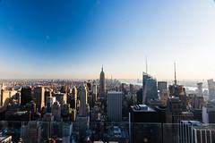 View over Manhattan III (oncearoundtheworld) Tags: city travel sunset shadow usa ny newyork reflection rooftop beautiful architecture modern america skyscraper us manhattan wideangle northamerica destination empirestatebuilding hudson rockefeller hdr impressive freedomtower