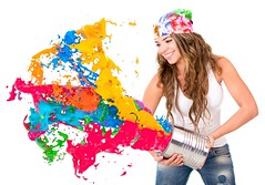 Woman splashing colorful paint from a can - isolated over white background (silvermountain2015) Tags: people woman white color girl beautiful smile female fun happy person design rainbow colorful mess paint artist chaos adult background interior headscarf young content tint can decorating latin painter casual hispanic splash cheerful dye joyful liquid isolated splashing latinamerican